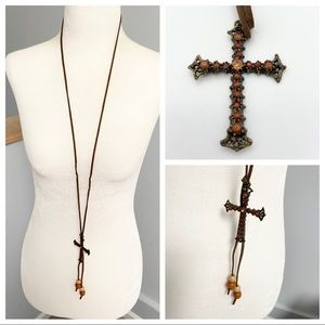 Jewel studded long cross necklace with beads